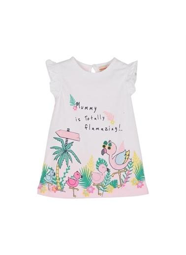 Silversun Kids Kız Bebek Baskılı Arkası Çizgili Kolları Fırfır Detaylı Örme Elbise Ek 115900 Pembe